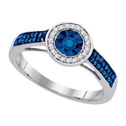 925 Sterling Silver White 0.27CTW-DIA BLUE DIAMOND RING