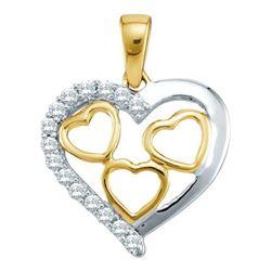 10KT Yellow Gold 0.18CTW DIAMOND HEART PENDENT
