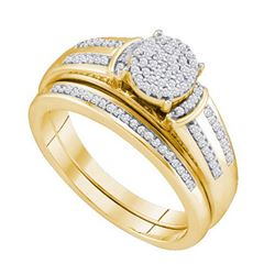 10KT Yellow Gold 0.25CTW DIAMOND MICRO PAVE BRIDAL SET
