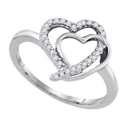 925 Sterling Silver White 0.15CTW DIAMOND FASHION RING
