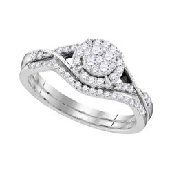 10kt White Gold Womens Round Diamond Bridal Wedding Eng