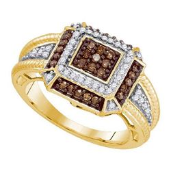 10KT White Gold 0.50 CTW COGNAC DIAMOND MICRO-PAVE RING