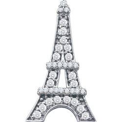 10kt White Gold Womens Round Natural Diamond Eiffel Tow