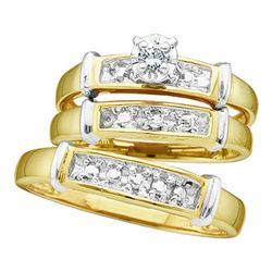 925 Sterling Silver Yellow 0.07CTW CENTER ROUND DIAMOND