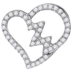 10kt White Gold Womens Round Diamond Heartbeat Heart Ou
