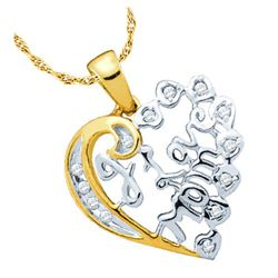 925 Sterling Silver Yellow 0.12CTW DIAMOND HEART PENDAN
