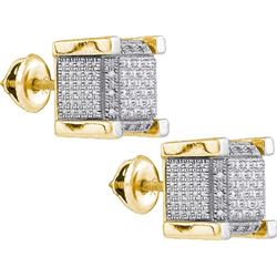 925 Sterling Silver Yellow 0.18CT DIAMOND MICRO-PAVE EA