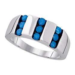 925 Sterling Silver White 1.0CT-BLUE DIAMOND MENS BAND