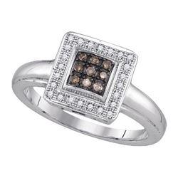 925 Sterling Silver White 0.16CTW DIAMOND FASHION RING