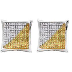 10kt White Gold Womens Round Yellow Colored Diamond Squ