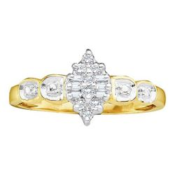 10KT Yellow Gold 0.10CTW DIAMOND CLUSTER RING