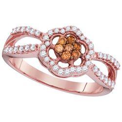 10KT Rose Gold 0.36CTW COGNAC DIAMOND FASHION RING