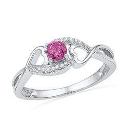 10kt White Gold Womens Round Lab-Created Pink Sapphire