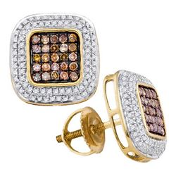 10K Yellow-gold 0.50CTW-DIA COGNAC DIAMOND MICRO-PAVE E