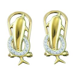 10KT Yellow Gold 0.08CTW DIAMOND MICRO PAVE EARRINGS