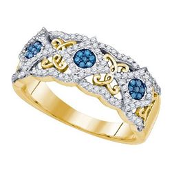 10KT Yellow Gold 0.40CTW BLUE DIAMOND FASHION BAND