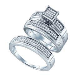 925 Sterling Silver White 0.33CTW DIAMOND FASHION TRIO