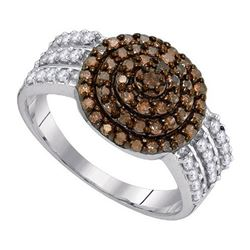 10KT White Gold 0.75CTW COGNAC DIAMOND FASHION RING