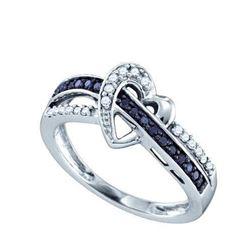 10K White-gold 0.25CTW BLACK DIAMOND LADIES HEART RING