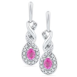 10kt White Gold Womens Oval Lab-Created Pink Sapphire T