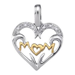 925 Sterling Silver White 0.03CTW DIAMOND MOM PENDANT