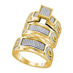 925 Sterling Silver Yellow 0.54CTW DIAMOND FASHION TRIO