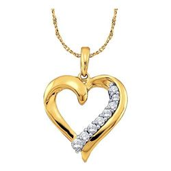 10KT Yellow Gold 0.25CT DIAMOND HEART PENDANT