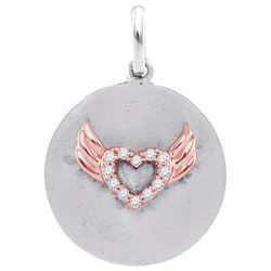 Sterling Silver Womens Round Diamond Angel Wings Heart