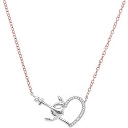 10kt White Gold Womens Round Diamond Heart & Anchor Pen