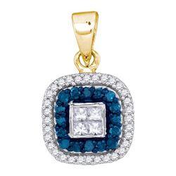 10K Yellow-gold 0.35CTW BLUE DIAMOND MICRO-PAVE PENDANT