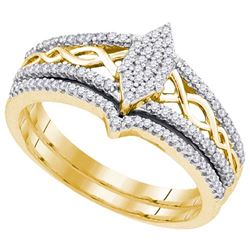 10K Yellow-gold 0.33CTW DIAMOND MIRO-PAVE BRIDAL SET