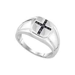 Sterling Silver Mens Round Black Colored Diamond Cross