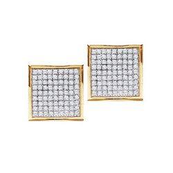 10K Yellow-gold 0.15CTW DIAMOND MICRO-PAVE EARRINGS
