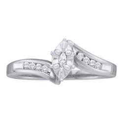 10K White-gold 0.17CT DIAMOND MARQUISE CENTER BRIDAL RI