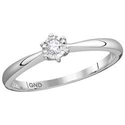 10kt White Gold Womens Round Diamond Solitaire Bridal W