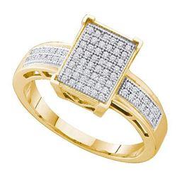 925 Sterling Silver Yellow 0.20CT DIAMOND MICRO PAVE RI