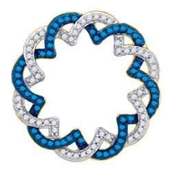 14K Yellow-gold 0.33CT BLUE DIAMOND CRICLE PENDANT