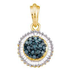10KT Yellow Gold 0.50CTW BLUE DIAMOND FASHION PENDANT