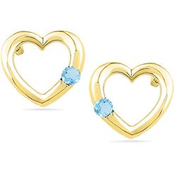 10kt Yellow Gold Womens Round Lab-Created Blue Topaz He