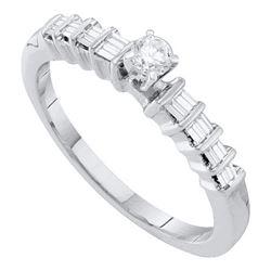 10KT White Gold 0.25CTW DIAMOND ROUND CENTER BRIDAL RIN