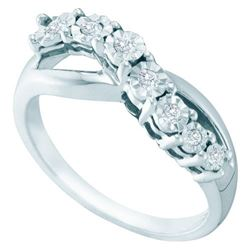 925 Sterling Silver White 0.12CTW DIAMOND FASHION RING