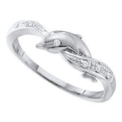 10KT White Gold 0.04CTW DIAMOND DOLPHIN RING