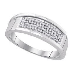 925 Sterling Silver White 0.20CTW DIAMOND MICRO-PAVE RI
