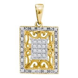 925 Sterling Silver Yellow 0.13CTW DIAMOND FASHION PEND