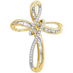 10kt Yellow Gold Womens Round Natural Diamond Cross Fai