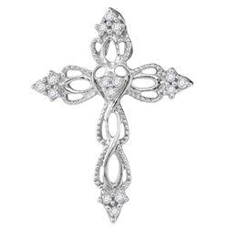 10kt White Gold Womens Round Diamond Heart Cross Religi