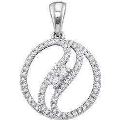 10kt White Gold Womens Round Diamond 2-stone Divided Ci