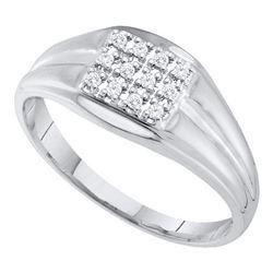 10KT White Gold 0.12CTW DIAMOND CLUSTER MENS RING