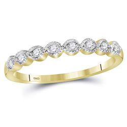 10kt Yellow Gold Womens Round Diamond Stackable Band Ri