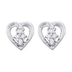 10K White-gold 0.08CTW DIAMOND HEART EARRING